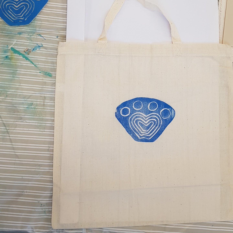 Lino printing on bags