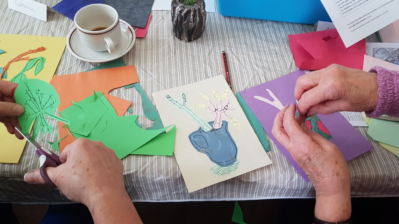 Juneau Projects pastel and collage workshop Kinver Library