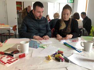 Artists Sarah Silverwood in a workshop